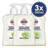 Sagrotan Handseife mit frischem Duft nach Aloe Vera - Antibakterielle Flüssigseife - 3 x 250 ml...
