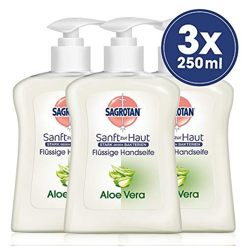 Sagrotan Handseife mit frischem Duft nach Aloe Vera - Antibakterielle Flüssigseife - 3 x 250 ml Seifenspender im praktischen Vorteilspack
