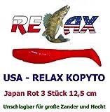 USA - RELAX Kopyto Japan Rot 3 Stück 12,5 cm (516) Raubfischzubehör Hecht Zander Kunstköder