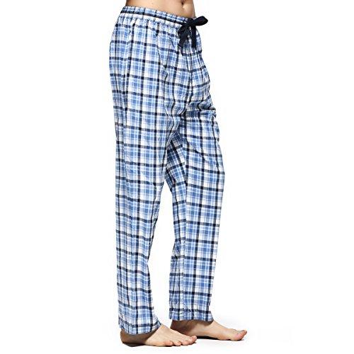 Männer Schlafhose Tartan-karierte Hosen Lange Lounge Schlafanzughosen (S, Blau&Weiß Plaid) (Plaid Weißen Hose)