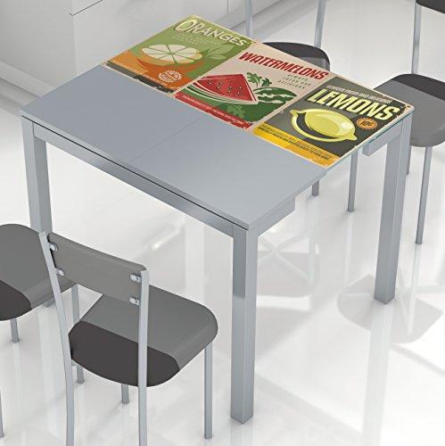 Mesa cocina extensible tablero cristal templado serigrafia