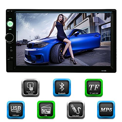 KKmoon Universal Bluetooth Car Audio Stereo 2 DIN 7 inch Digital Touch Screen Multimedia Video With USB Port and Aux Input Support FM TF Card CD Slot