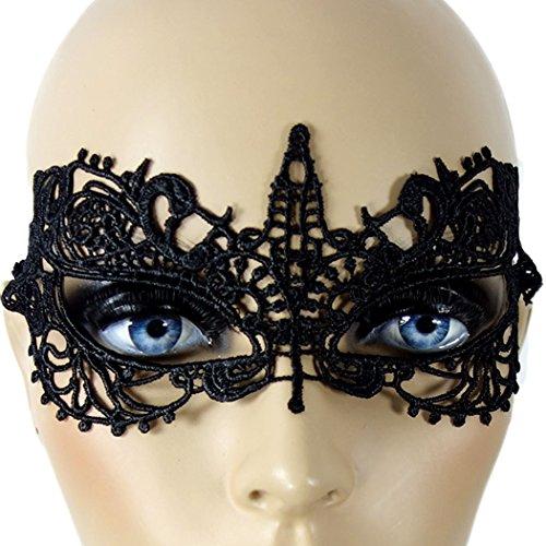 Maske Spitze-Stoff Augenmaske, sexy Augenbinde venezianisches Design, Maskerade Gesichtsmaske, Swinger-Maske Einheitsgröße, schwarz - SEE-X Karneval Gothic Ball Club-Wear Accessoire ()