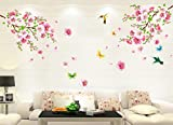 Large Cherry Blossom Flower Butterfly Tree Wall Stickers Art Decal Home Decor Room Mural Decoration 60cm * 90cm