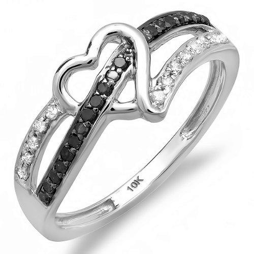 dazzlingrock 10K Weiß Gold Rund Schwarz und Weiß Diamant Damen Versprechen Herz Love Verlobungsring Ring 1/5CT 0,20cttw, G-H Farbe, si-i Klarheit) (10k Weißes Gold Schwarzer Diamant Ring)
