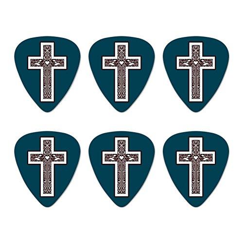 Kreuz mit Herz Christentum Neuheit Gitarre Plektrum Plektron Picks Stärke Medium–Set of 6