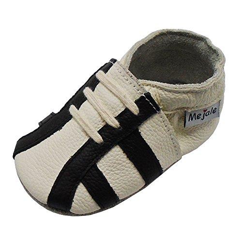 Mejale Junge Mädchen Kleinkind Weich Krabbelschuhe Baby Hausschuhe Lederpuschen Lauflernschuhe Turnschuhe(Weiß,0-6 Monate) (Kleinkind-größe 4-weiß Schuhe)