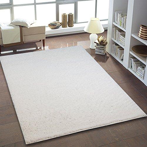Shaggy Teppich Hochflor Langflor Teppiche fürs Wohnzimmer und Schlafzimmer geeignet sowie für die Küche und Kinderzimmer Ökotex 100 zertifiziert (200X200 quadratisch, weiß)
