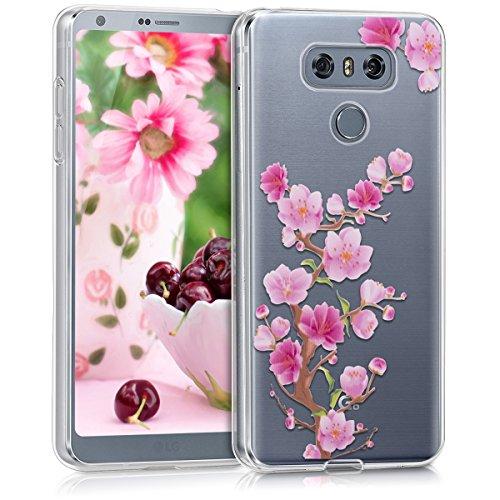 kwmobile Hülle für LG G6 - TPU Silikon Backcover Case Handy Schutzhülle - Cover klar Kirschblüte Ast Design Pink Rosa Transparent