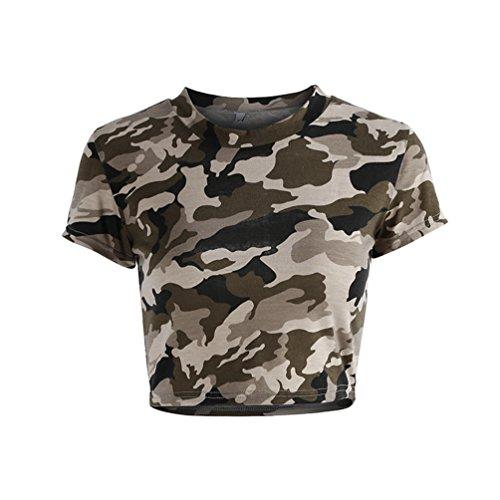 NiSeng Donna Stampa Tondo Collare Sottile Breve Paragrafo T-Shirt Moda Manica Corta Crop Tops Camuffare