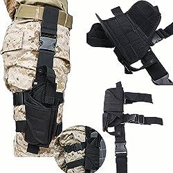 AGPTEK Etui à Pistolet Holster De Cuisse Pistolet Jambe Droite pour Armée Tactique en Nylon Noir et Réglable