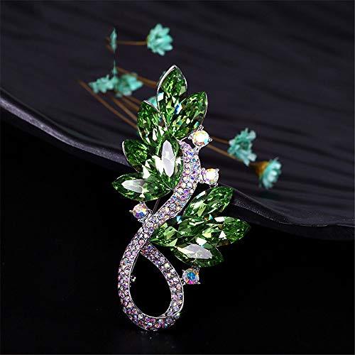 Peggy Gu schmuck Damen Österreichische Element Crystal Brosche Lassen Sie Form Clip Pin für Cocktail Party Hochzeit Bouquet Valentinstag kostüm - Accessoire (Farbe : Grün)