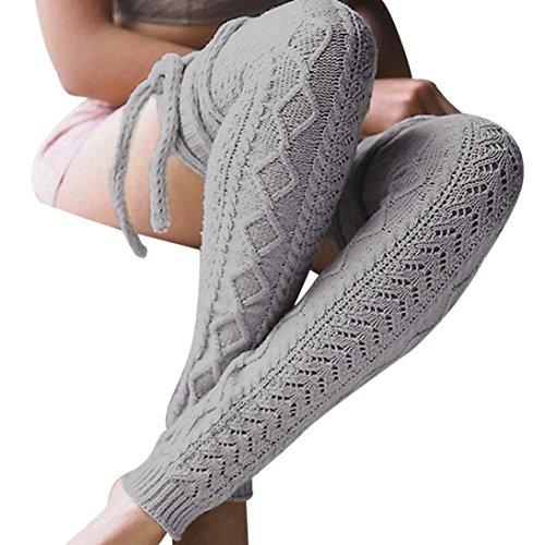 Stulpen Damen, DoraMe Frauen Herbst Winter Kniestrümpfe Lange Baumwolle Strümpfe Warm Stricken Socken (Hellgrau, Freie Größe) (Stricken Beige Socken)