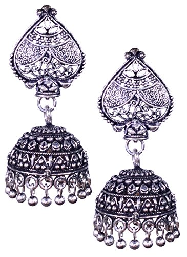 Shimmer's Oxidized Silver Designer Jhumka Jhumki Earrings for Women, Girls  available at amazon for Rs.129