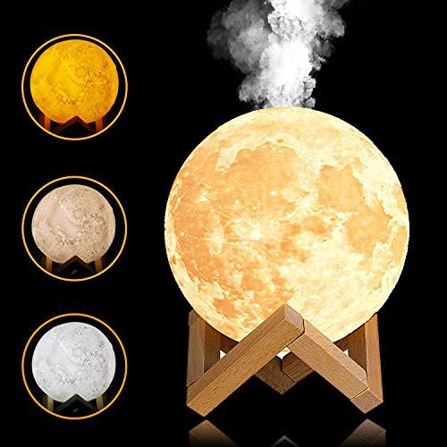 YINGJEE Humidificador de Lámpara de Luna en 3D con Luz LED de Noche y Ultrasónico 880 ML Difusor de Aceites Esenciales Recargable por USB para Bebé Yoga SPA Oficina Dormitorio