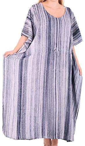 LA LEELA Frauen Damen Rayon Kaftan Tunika Tie Dye Kimono freie Größe Lange Maxi Party Kleid für Loungewear Urlaub Nachtwäsche Strand jeden Tag Kleider Schwarz_L257 - Tie-dye-tunika