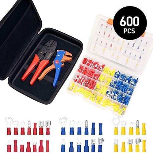 Crimpzangen Kabelschuhe Abisolierzange toolkit mit Tasche Rundstecker Steckverbinder Ringkabelschuhe Flachsteckhülse Flachstecker Isolierte Kabelschuhe für 0.5-6 mm² Kable SOMELINE 600 Stück