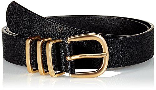 PIECES Damen Gürtel Pclea Jeans Belt Noos, Schwarz (Black Detail: Black W/Gold), 95 (- Jeans-metallic-gürtel)