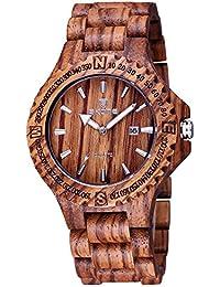SKONE Natural Sandal Wood Date Nail Scale Quartz Mens Watch (Coffee Zebrano)