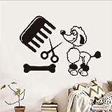 limicry Little Poodle Pettine Forbici Adesivi Murali Pet Shop Wallpaper Camera per Bambini Decalcomanie Camera da Letto Smontabile Decalcomanie Home Decor 65Cm X 58Cm