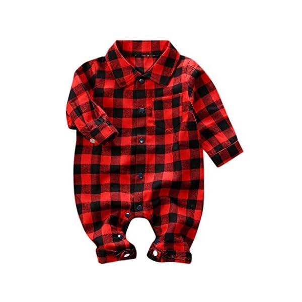 Greenwind Mameluco del bebéBebé recién Nacido Bebé Niños Niñas Plaid Jumpsuit Romper Ropa de otoño e Invierno 4