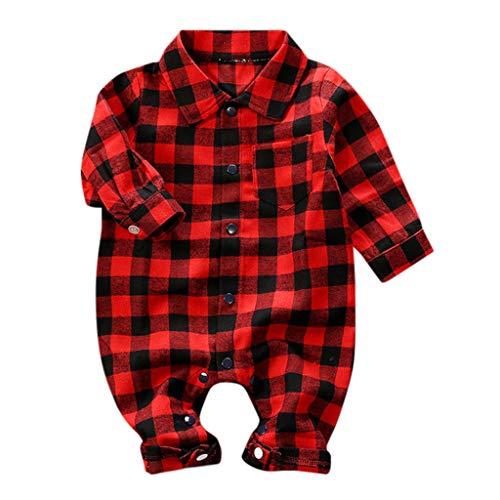Livoral Neugeborene Gitter Overall, Baby Kleiner Junge Das Mädchen Overall Strampler Herbst- und Winterkleidung(Rot,12-18 Monate)