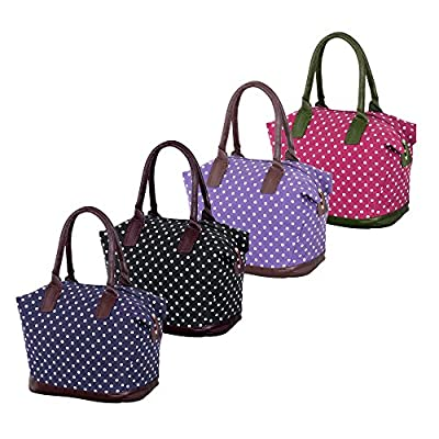 More4bagz Ladies Womens Large Canvas Shoulder Weekend Overnight Maternity Polka Dots, Owl, Floral Print Handbag Holdall Travel Bag