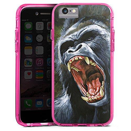 Apple iPhone 6s Bumper Hülle Bumper Case Glitzer Hülle Gorilla Affe Dschungel Bumper Case transparent pink