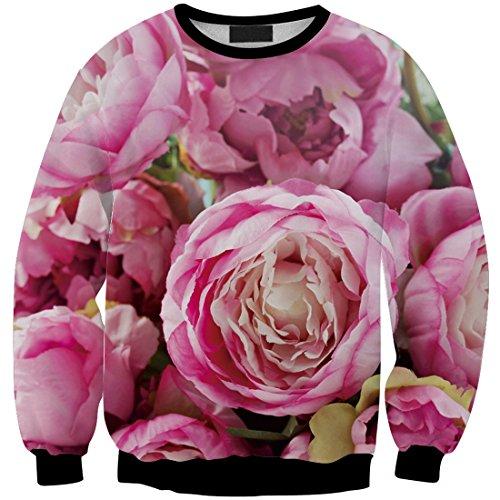 Yichun donne da tempo libero t-shirt sottile felpe camicetta stampa pullover maglione casual Flower Pink 15#