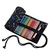 Amoyie Sacchetto della matita portamatite arrorolabile per 36 matite colorate porta penne tela wrap borse organizer astuccio portapenne scuola cassa del supporto di matita viaggio mentore nero 36