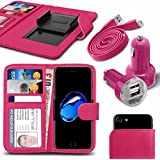"""Asus Zenfone 4 Selfie Pro ZD552KL (5.5"""") - Fall Super-Essentials Pack Clamp Frühlings-Art PU-Leder-Mappe + Dual Einschuss Charger + Micro-USB-1 Meter flache Datenkabel - Pink"""