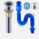 Pop Up Ablaufgarnitur Mit Überlauf Push-Open-Technik Stöpsel Ablaufventil Abfluss Ventil Für Waschbecken Waschtisch Küchenspüle