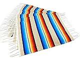 El paso design colorato con frange poncho messicano tovagliette progettato in materiale tradizionale messicano Serape coperta. Set di 6tovagliette, Acrilico, Beige, 19' X 13'