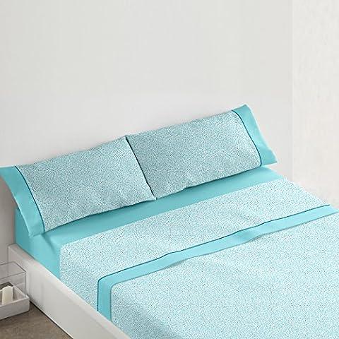 Burrito Blanco - Juego de sábanas 442 para cama 135x190/200 cm, color turquesa