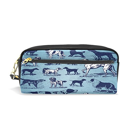 COOSUN Hunde Vintage Set Portable Pu-leder Federmäppchen Schule Stift Taschen Stationäre Pouch Fall Große Kapazität Make-Up Kosmetiktasche -