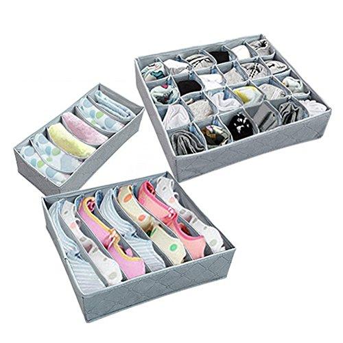 Woopower 3Schubladen, Organzier, Schrankteiler und faltbare box-flodable-Unterwäsche, Socken, Organizer-Box Schublade Organizer Box