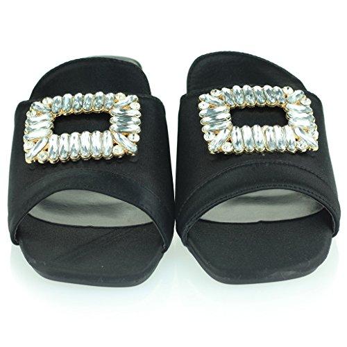 Tamanho À Calcanhar Diamante Senhoras Broche Casuais Festa Deslizamento Sapatos Sandálias Mulheres Detalhe Pretos Bloco Noite BpFqpZwx