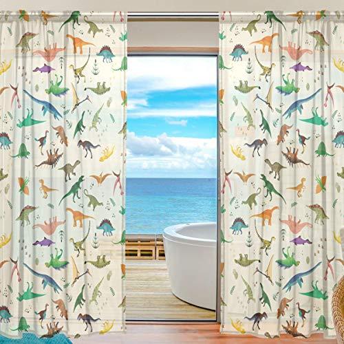 Mnsruu Vorhang Dinosaurier-Muster, durchsichtig, 198 cm lang, Tüll-Voile, Transparente Gardinen Vorhang für Wohnzimmer, Schlafzimmer, 2 stücks - Wohnzimmer 36 Vorhänge