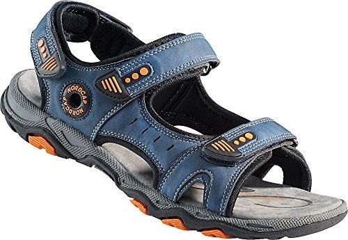 Nordcap Trekkingsandalen, Damen- und Herren- Sandalen, Wander- und Outdoor- Sandalen mit regulierbaren Schnallen und Profilsohle für mehr Trittsicherheit (Größen: 37-46, Farbe: Blau/Orange)