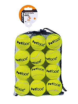 Petface Super Tennis Balls For Dogs, Throw and Fetch, Outdoor Exercise, 12 Pack
