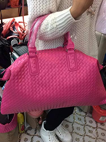 Bag-Haigeen Frauen gewebt Leder Cabrio Tasche Tote Doppel Griffe große Crossbody Handtaschen hot pink (Leder Tote-doppel-griff)