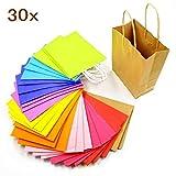 JZK 30 Colorati sacchetti regalo con manici carta kraft borse multicolore per bomboniere bambini feste matrimonio compleanno