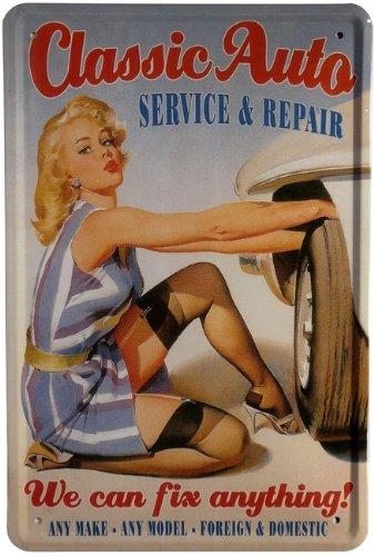Blechschild Classic Auto - Werkstatt Pin Up Girl 20 x 30cm Reklame Retro Blech 114 -