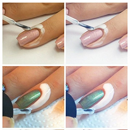 NO:1 Débordement Colle Anti Nail Art Colle en Couche de Base se détacher dissolvant Vernis à Ongles - Blanc