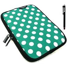 Emartbuy® Ampe 830 Windows Tablet PC 8.1 Pulgada Negro Lápiz Óptico + Lunares Verde / Blanco Funda Impermeable con Cremallera de Neopreno Suave Case/Cover ( 8 Pulgada Tablet )