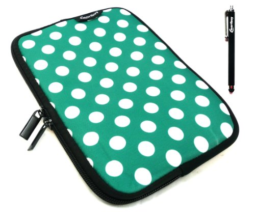 Emartbuy® Schwarz Stylus + Polka Dots Grün / Weiß Wasserdicht Neopren Weich Zip Case Cover Tasche Hülle Sleeve Für I.onik TP - 1200QC 7.85 Inch Tablet (8 -Zoll-Tablet )