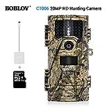 Boblov Jagdkamera 20MP 1080p Full HD Beutekameras IP54 Wasserdichtes Wildkamera Nachtsicht Tieren Scouting Wildlife Hunting
