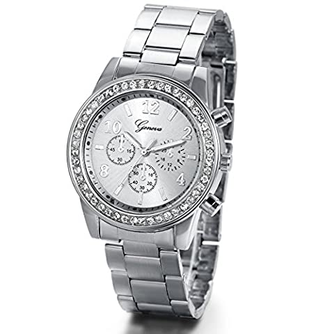 JewelryWe Unisex Women's Rhinestone-Accented Silver-Tone Stainless Steel Bracelet Watch