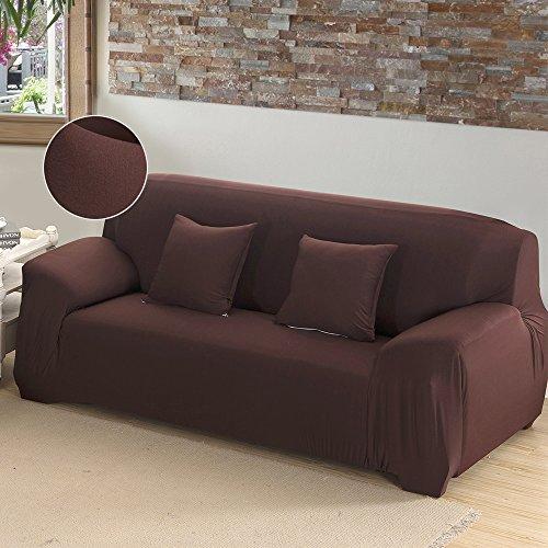 Copridivano elasticizzato 4 posti con braccioli senza braccioli universale in poliesteri spandex copertura divano tinta unita (marrone)