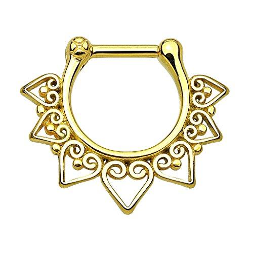 Piercingfaktor Universal Piercing Septum auch für Tragus Helix Ohr Nase Lippe Brust Intim - Schild Clicker Ring Gold
